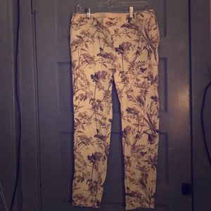 Floral and bird patterned pants